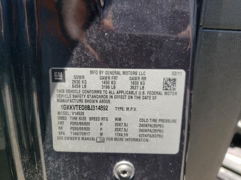 2011 GMC ACADIA DEN 1GKKVTED8BJ314892
