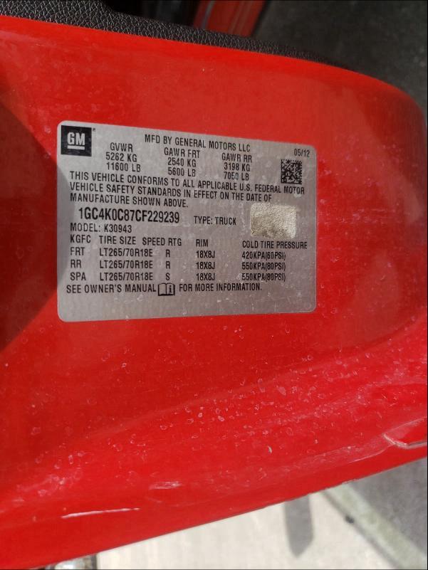 2012 CHEVROLET SILVERADO 1GC4K0C87CF229239