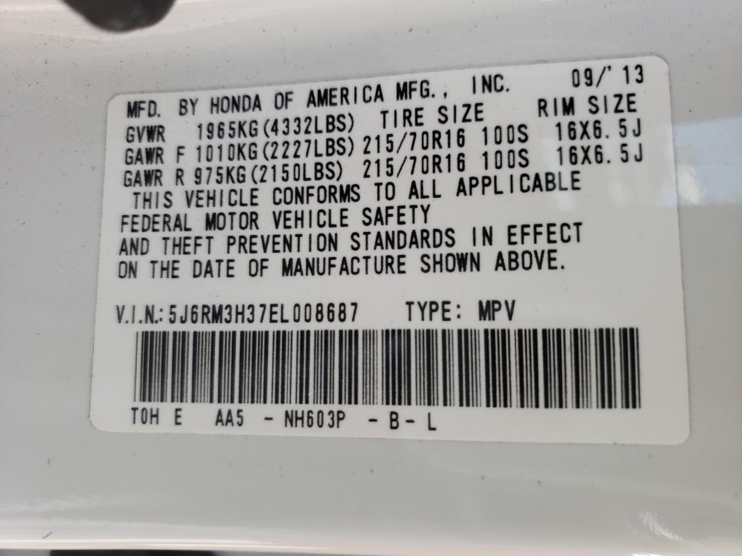 2014 HONDA CR-V LX 5J6RM3H37EL008687