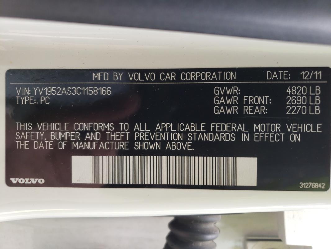 2012 VOLVO S80 3.2