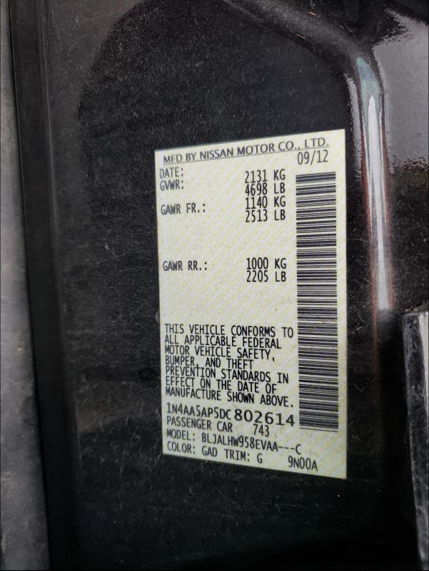 2013 NISSAN MAXIMA S 1N4AA5AP5DC802614