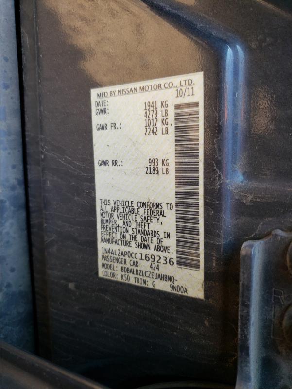2012 NISSAN ALTIMA BAS 1N4AL2AP0CC169236