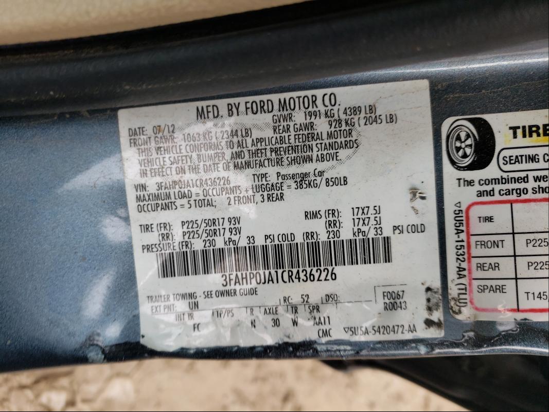 2012 FORD FUSION SEL 3FAHP0JA1CR436226
