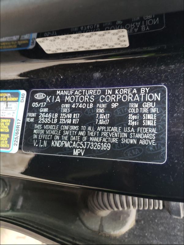 2018 KIA SPORTAGE L KNDPMCAC5J7326169
