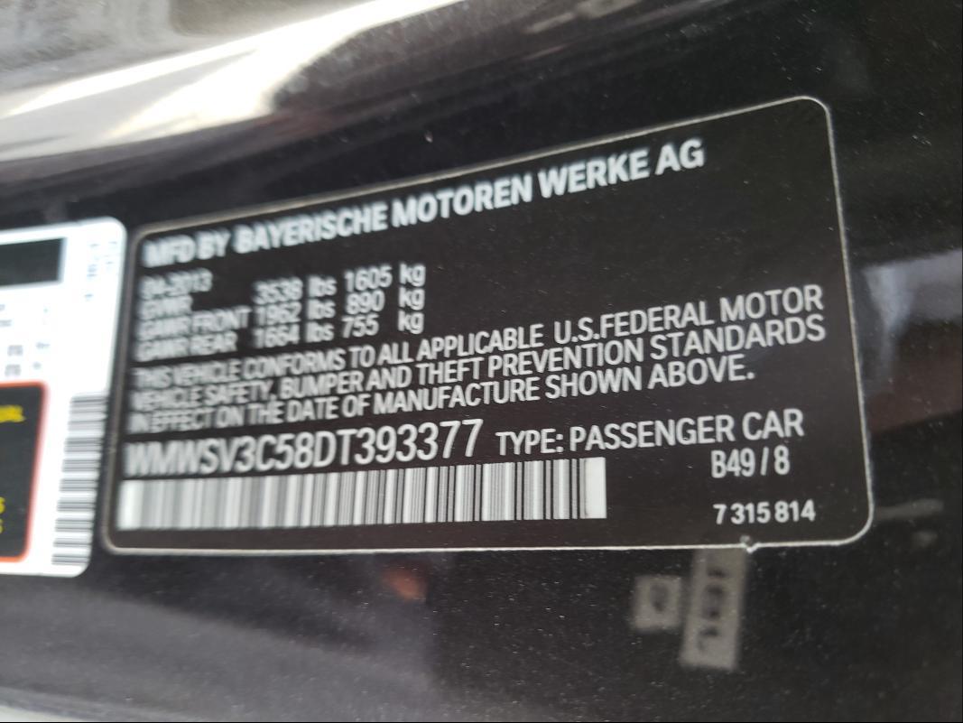 2013 MINI COOPER S WMWSV3C58DT393377