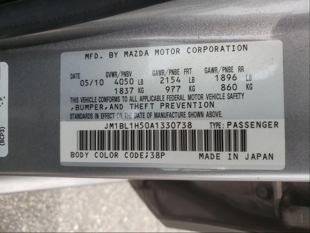 2010 MAZDA 3 S JM1BL1H50A1330738