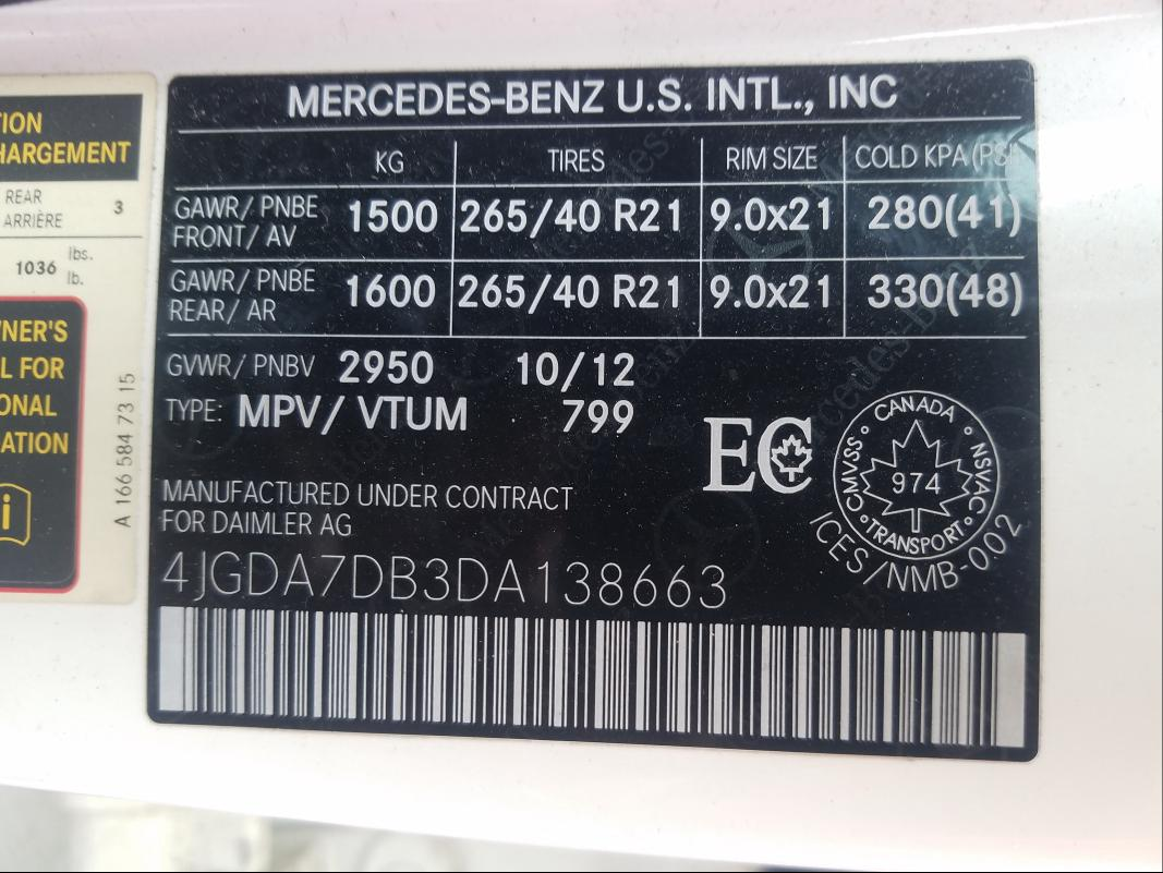 2013 MERCEDES-BENZ ML 550 4MA 4JGDA7DB3DA138663