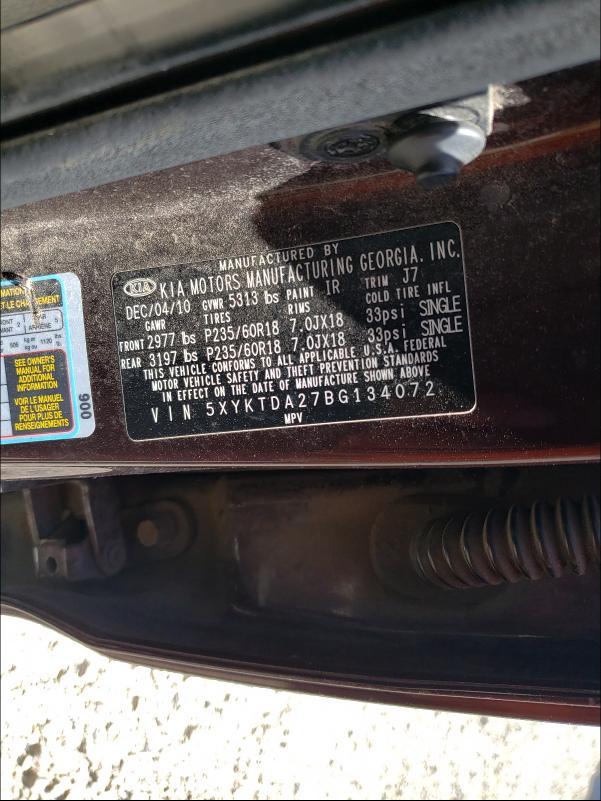 2011 KIA SORENTO BA 5XYKTDA27BG134072