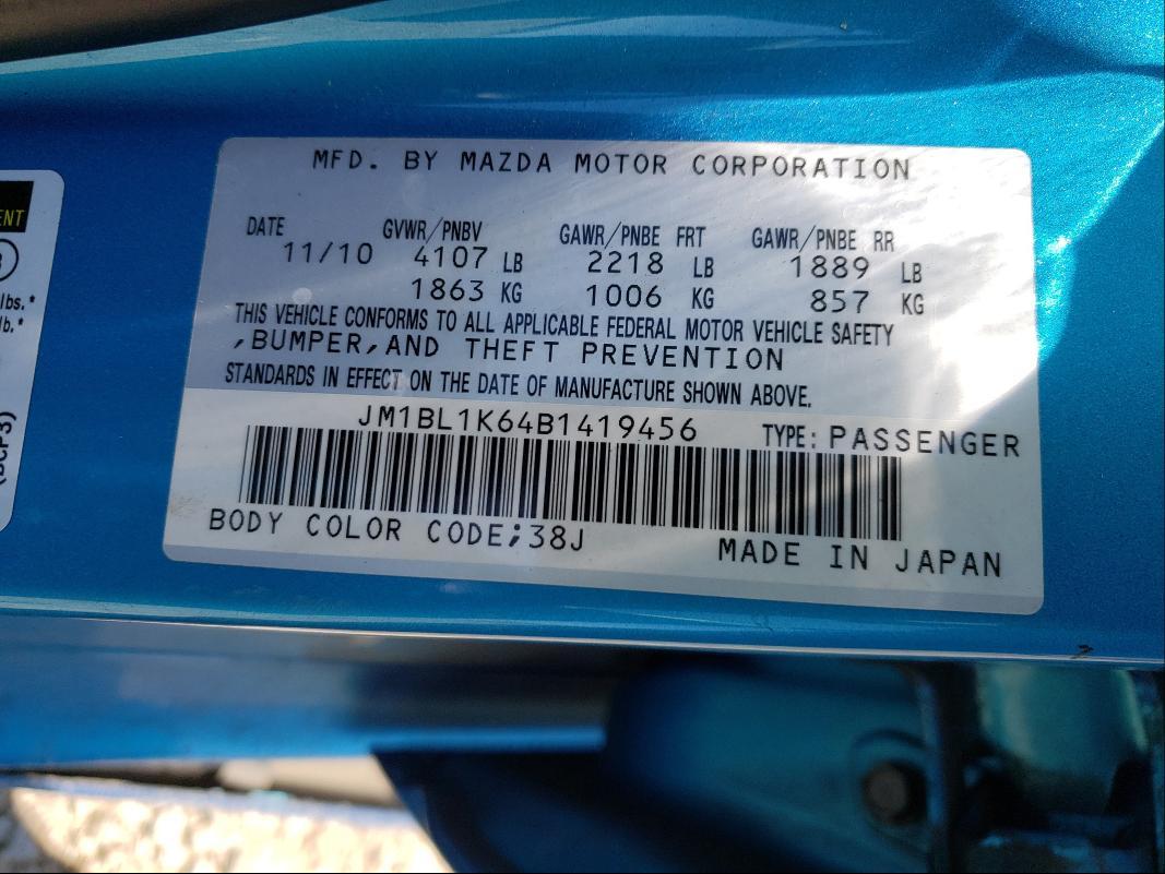 2011 MAZDA 3 S JM1BL1K64B1419456