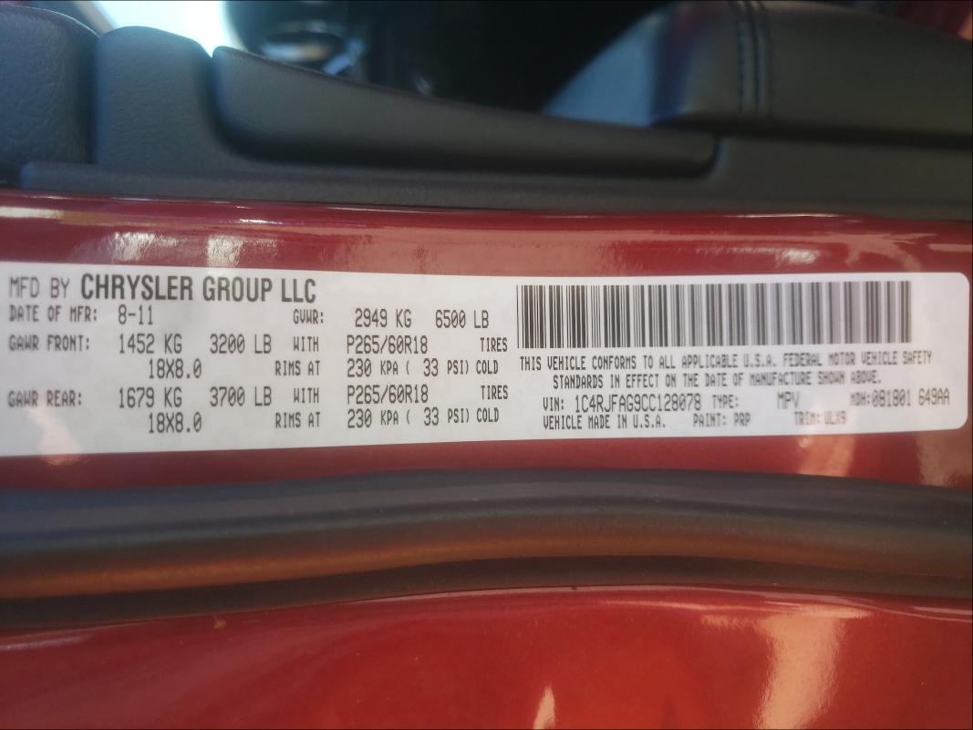 2012 JEEP GRAND CHER 1C4RJFAG9CC128078
