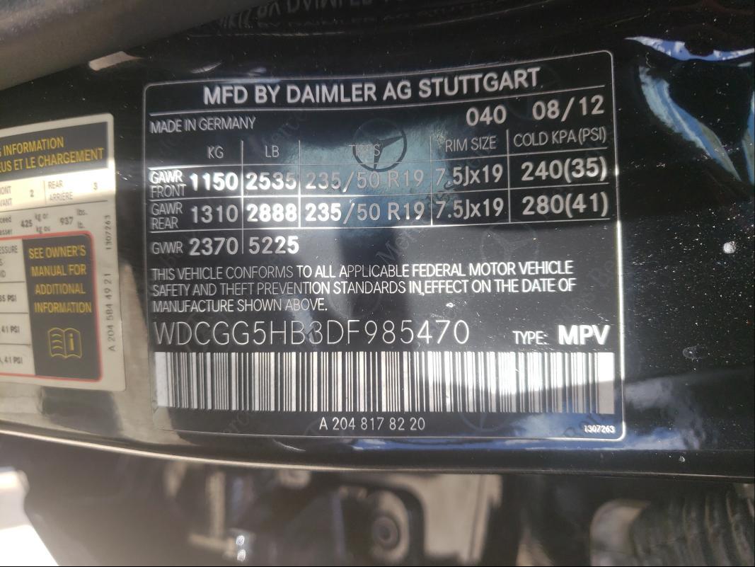 2013 MERCEDES-BENZ GLK 350 WDCGG5HB3DF985470