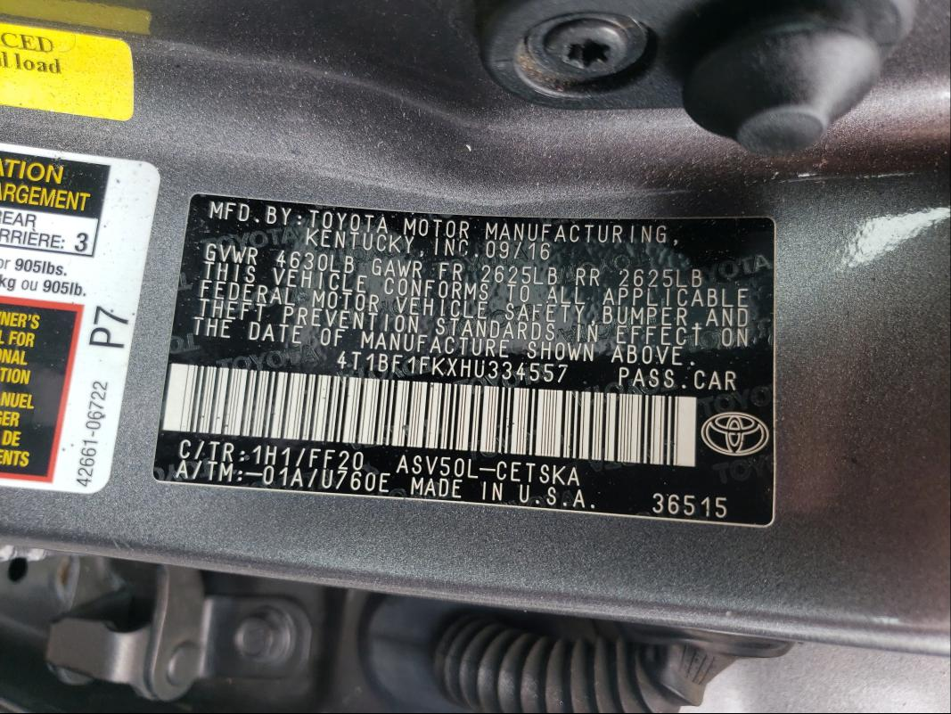 2017 TOYOTA CAMRY LE 4T1BF1FKXHU334557