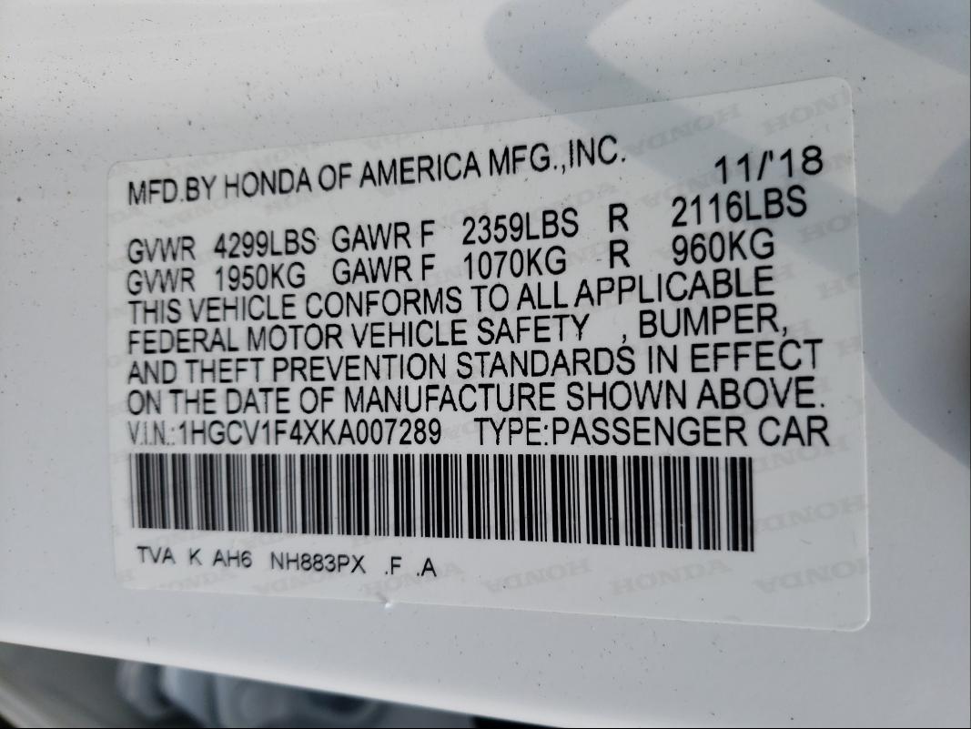 2019 HONDA ACCORD EX 1HGCV1F4XKA007289