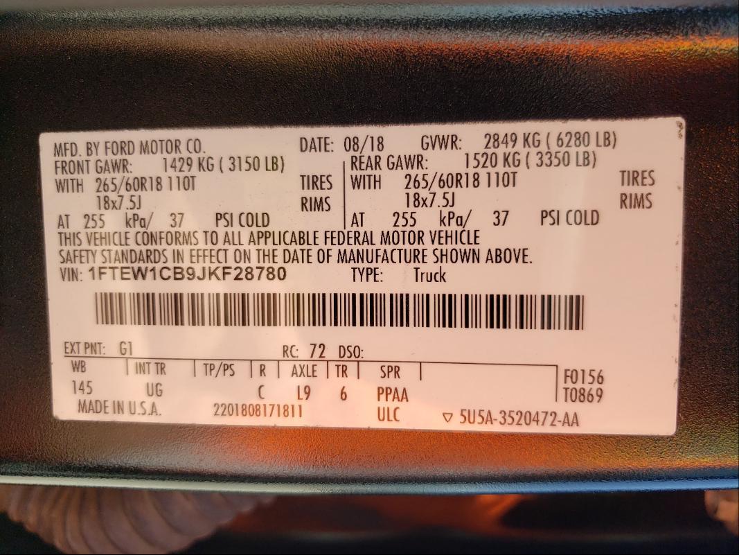 2018 FORD F150 SUPER 1FTEW1CB9JKF28780
