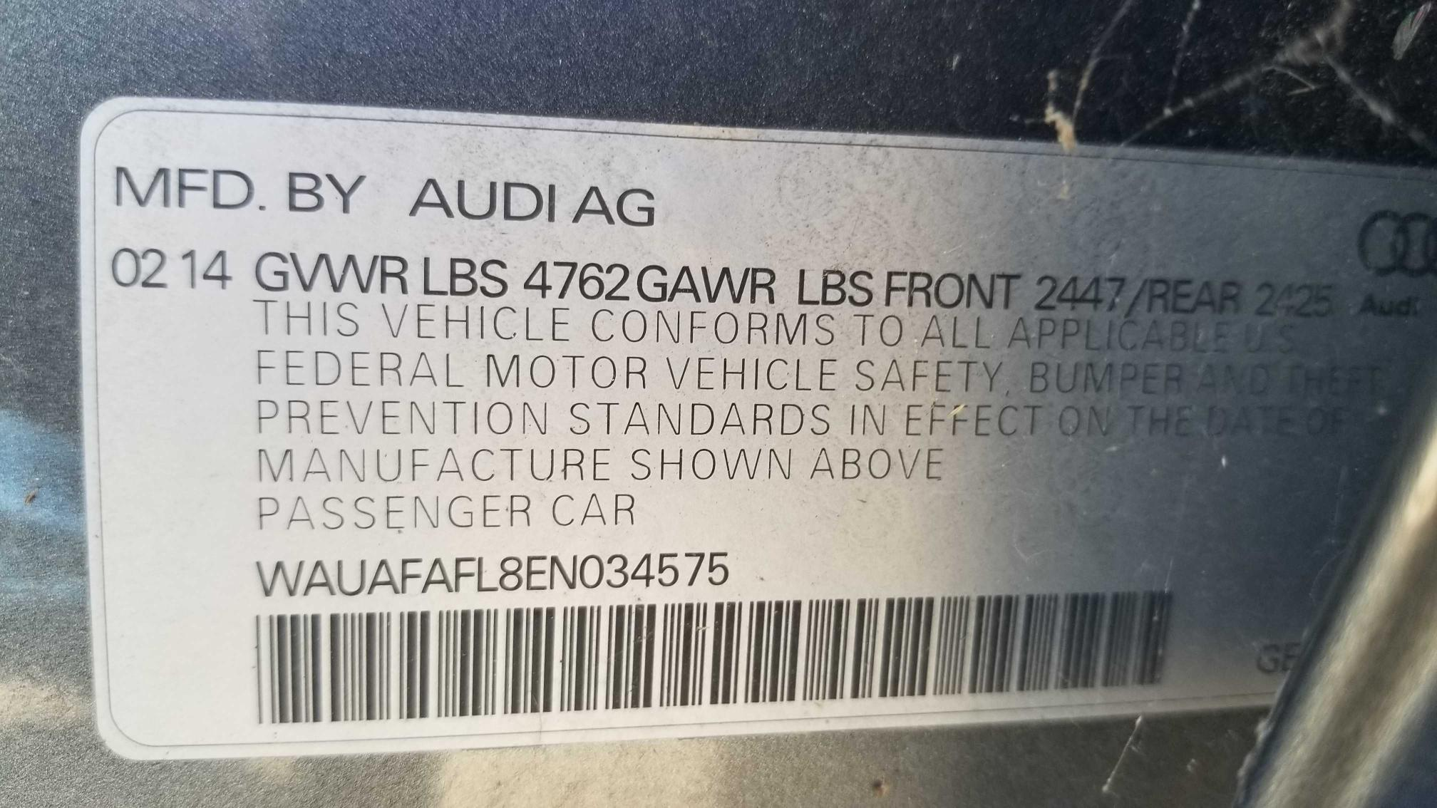 2014 AUDI A4 PREMIUM WAUAFAFL8EN034575