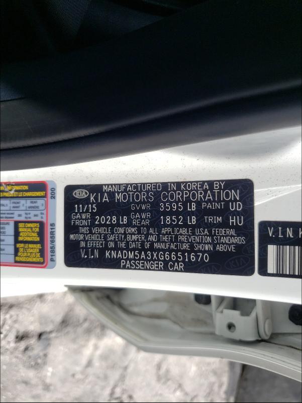 2016 Kia Rio Lx 1.6L