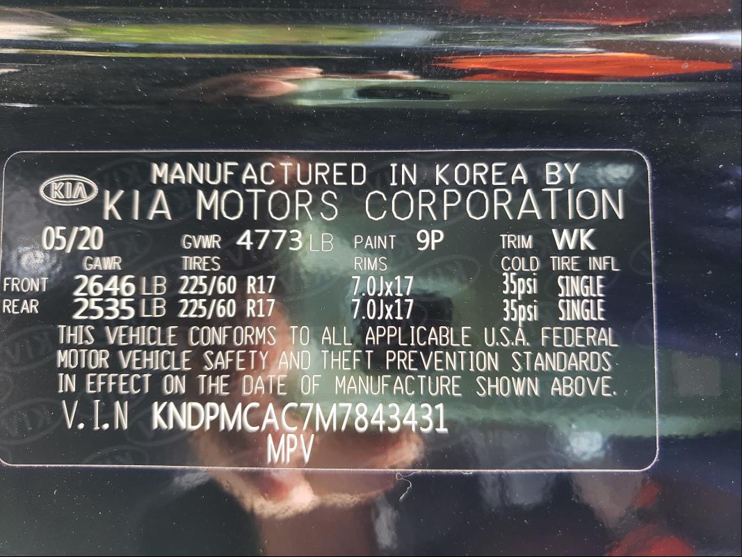 2021 KIA SPORTAGE LX, KNDPMCAC7M7****** - 10
