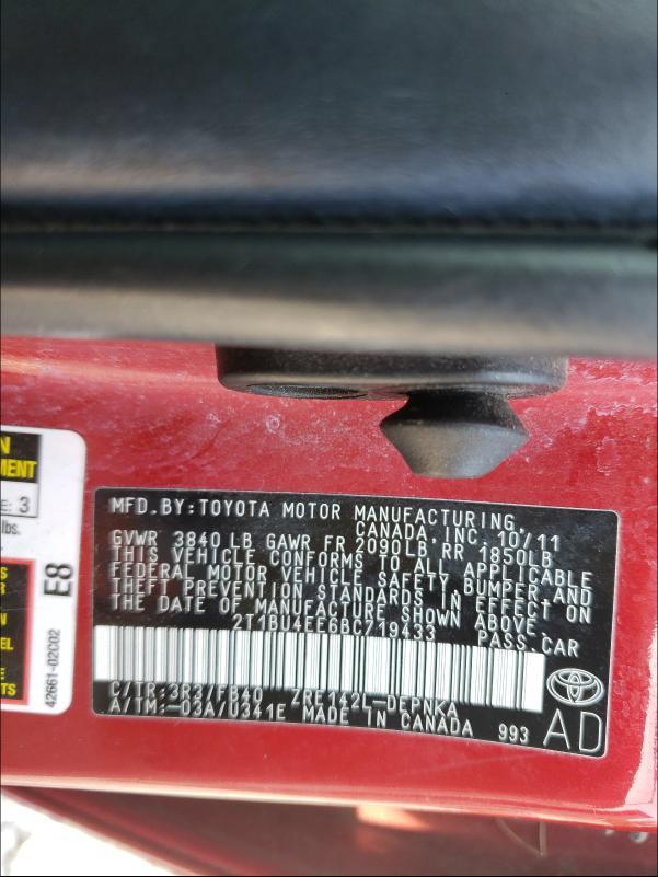 2011 TOYOTA COROLLA BA 2T1BU4EE6BC719433