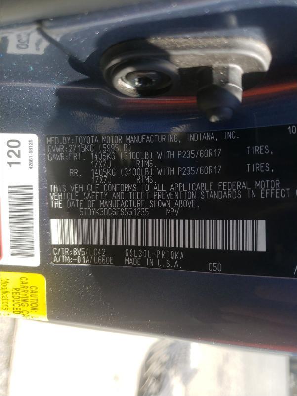 2015 TOYOTA SIENNA XLE 5TDYK3DC6FS551235