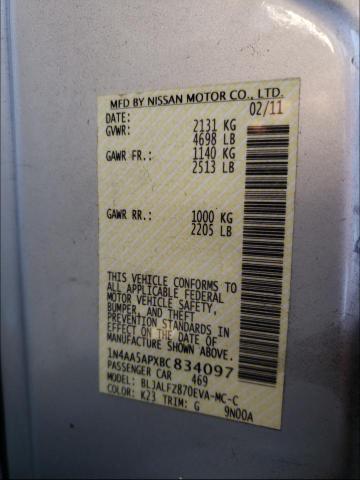 2011 NISSAN MAXIMA S 1N4AA5APXBC834097