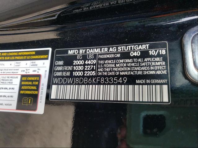2019 MERCEDES-BENZ C 300 WDDWJ8DB6KF833549