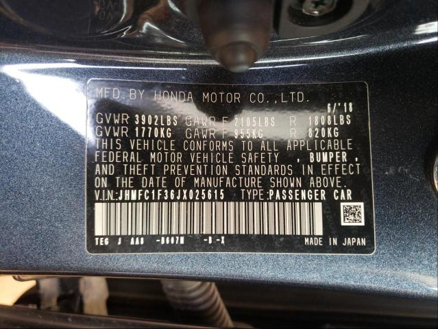 2018 HONDA CIVIC EX JHMFC1F36JX025615