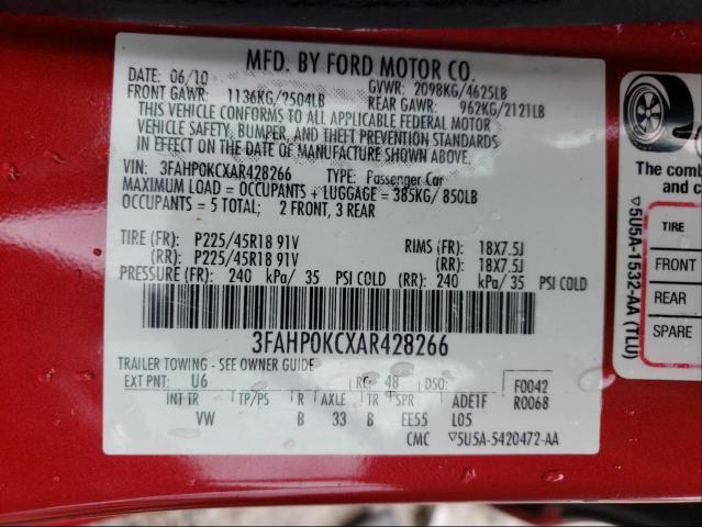 2010 FORD FUSION SPO 3FAHP0KCXAR428266