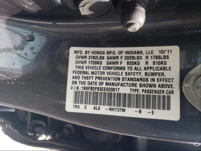 2012 HONDA CIVIC EX 19XFB2F83CE020817