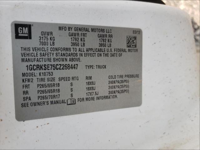 2012 CHEVROLET SILVERADO 1GCRKSE75CZ268447