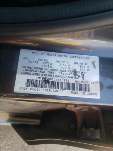 2012 MAZDA 3 I JM1BL1W81C1645936