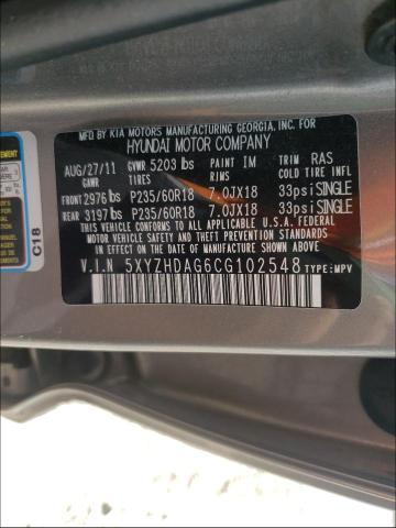 2012 HYUNDAI SANTA FE S 5XYZHDAG6CG102548