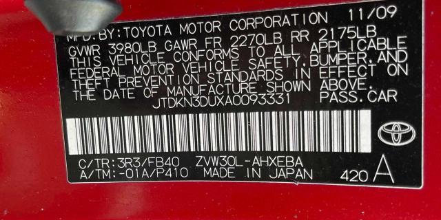 2010 TOYOTA PRIUS JTDKN3DUXA0093331