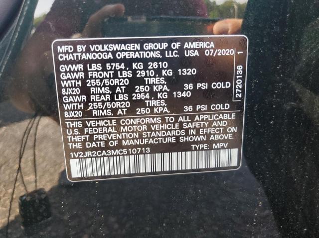 2021 VOLKSWAGEN ATLAS SE 1V2JR2CA3MC510713