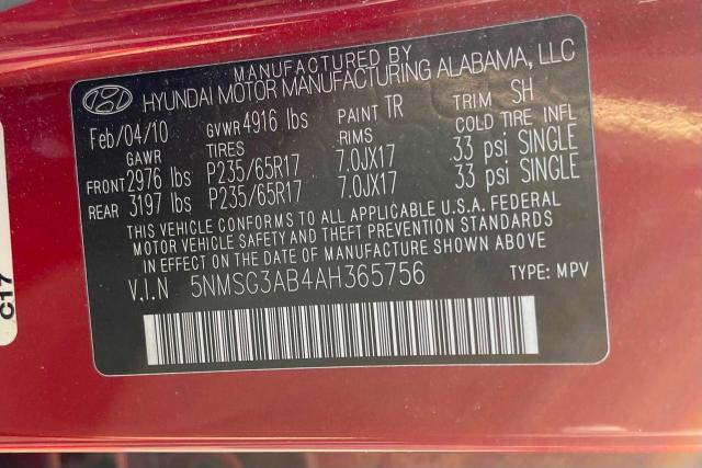 2010 HYUNDAI SANTA FE G 5NMSG3AB4AH365756