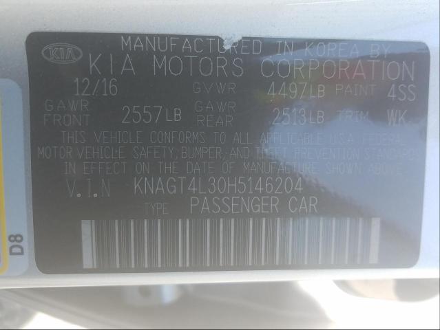 2017 KIA OPTIMA LX KNAGT4L30H5146204