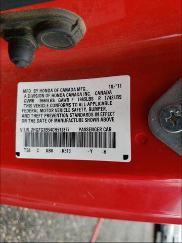 2012 HONDA CIVIC LX 2HGFG3B54CH512877