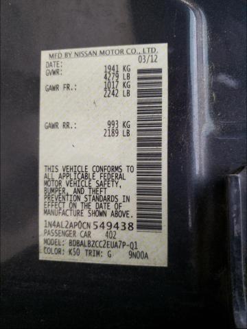 2012 NISSAN ALTIMA BAS 1N4AL2AP0CN549438