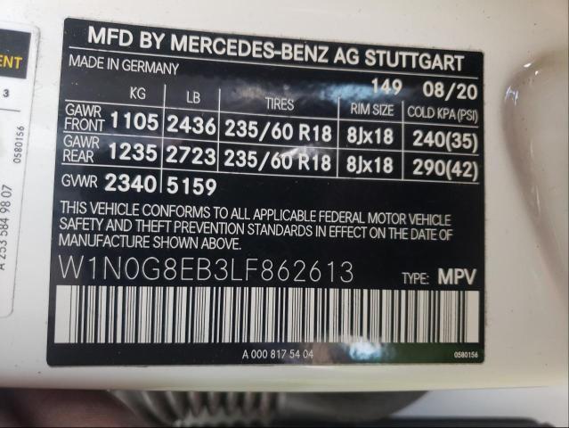 2020 MERCEDES-BENZ GLC 300 4M W1N0G8EB3LF862613