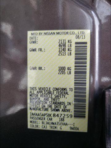 2013 NISSAN MAXIMA S 1N4AA5AP5DC847259