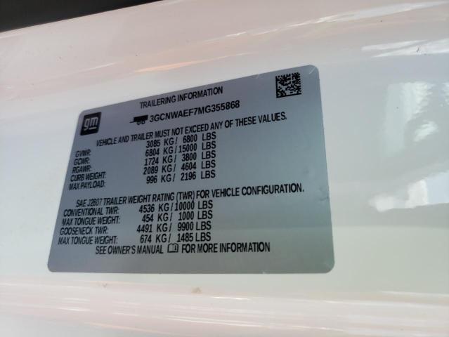 2021 CHEVROLET SILVERADO 3GCNWAEF7MG355868