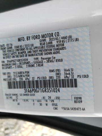 2016 FORD FUSION 3FA6P0G71GR351024