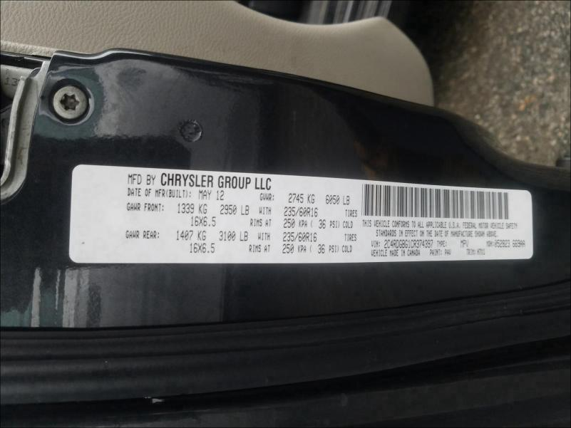 2012 DODGE GRAND CARA 2C4RDGBG1CR374397