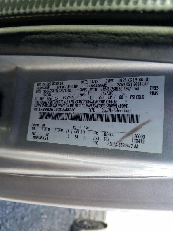 2012 FORD ECONOLINE 1FBSS3BL9CDA58220