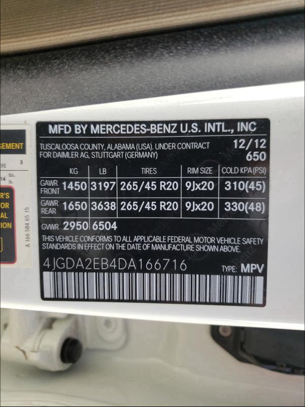 2013 Mercedes-Benz ML | Vin: 4JGDA2EB4DA166716
