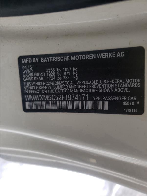 2015 MINI COOPER WMWXM5C52FT974171