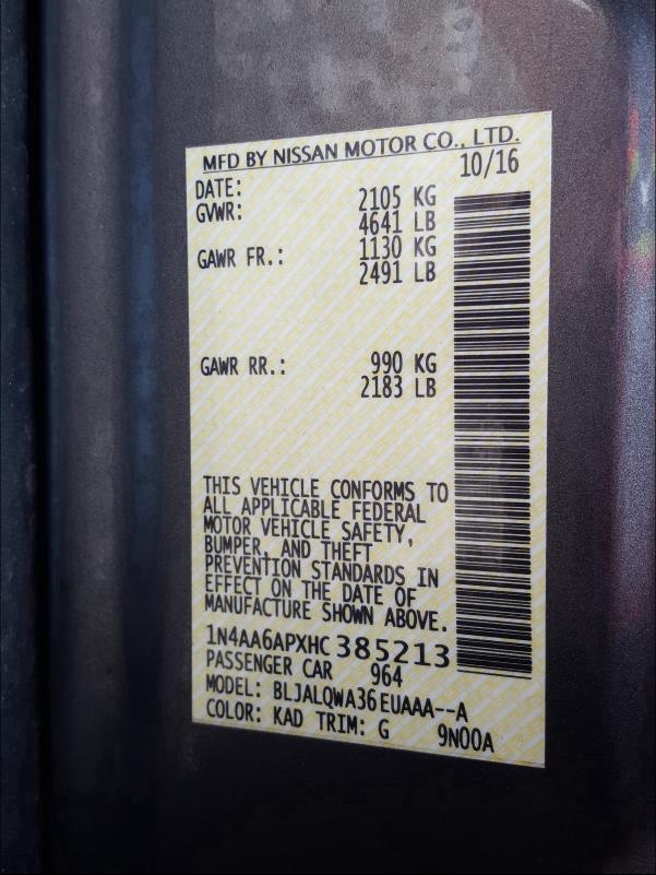 1N4AA6APXHC385213 2017 Nissan Maxima 3.5 3.5L