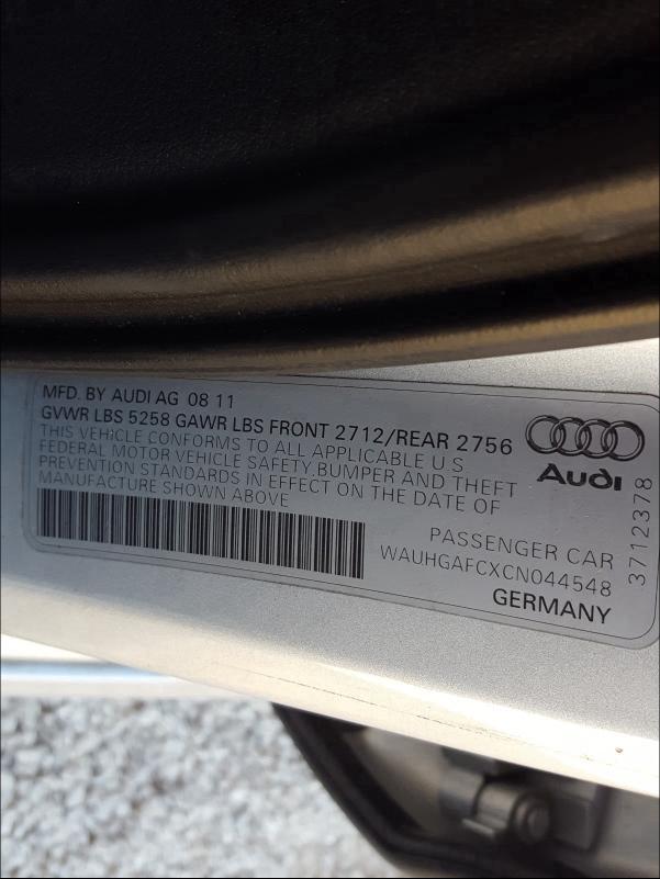 2012 Audi A6 | Vin: WAUHGAFCXCN044548