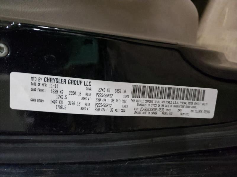 2C4RDGDG3CR216933 2012 Dodge Grand Cara 3.6L