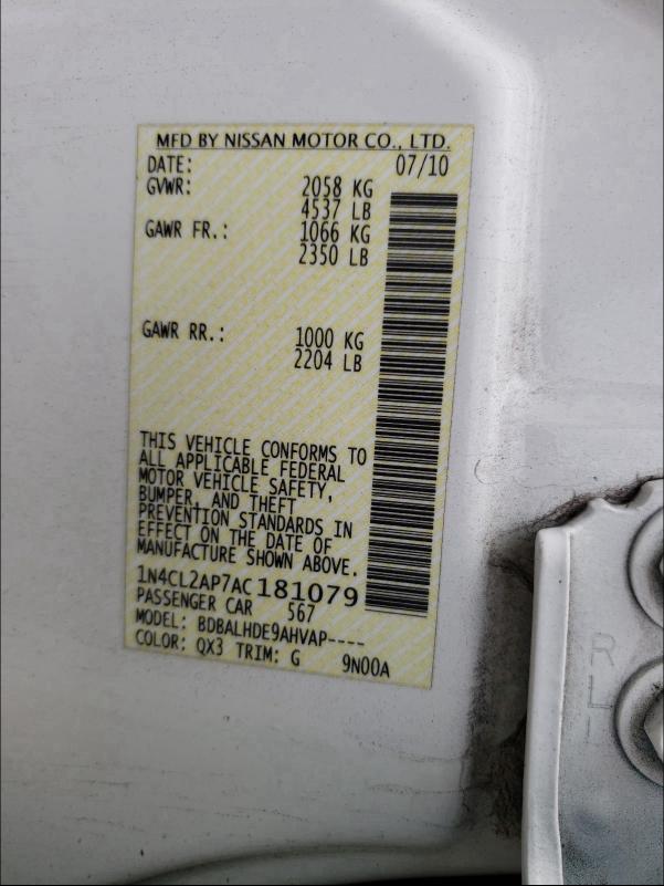 2010 NISSAN ALTIMA HYB 1N4CL2AP7AC181079