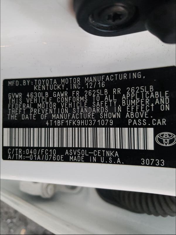 4T1BF1FK9HU371079 2017 Toyota Camry Le 2.5L